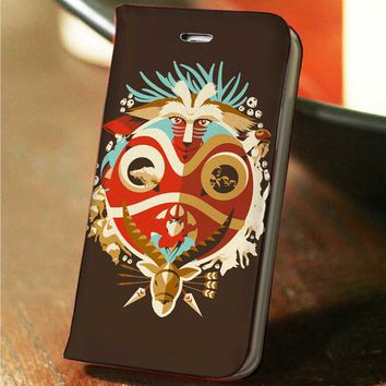 Princess Mononoke Studio Ghibli custom wallet case for iphone 4,4s,5,5s,5c,6 and samsung galaxy s3,s4,s5