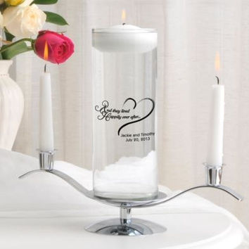 Personalized candles floating unity candle set monogrammed customized monogram engraved custom wedding favors pillar for less