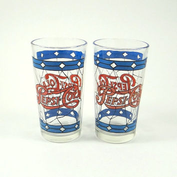 Vintage Pepsi Cola Glasses from the 1970s