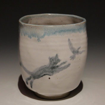 Ceramic Cup, Cat Chasing Bird Majolica Glaze Painting, Yunomi Tumbler Vessel Wabi Sabi Animal Art Pottery