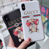 GUCCI color picture bear iPhone7 half pack chao X leather upper high-end iPhone 8plu handset shell