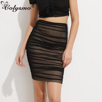 PEAPUNT Colysmo Black Mesh Ruched Pencil Skirt Girls Full Lined Pleated Sheer High Waist Midi Skirts Knee Length Lady Sexy Party Skirt