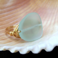 Light Aqua Sea Glass Ring:  24K Gold Wire Wrapped Mint Green Beach Jewelry, Large Freeform Stone Statement Ring, Size 6