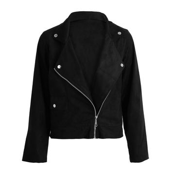 Zipper Basic Suede Jacket Coat Motorcycle Leather Jacket Women Outwear BlackBrown Short Bomber Jackets With Pockets SM6