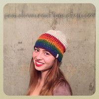 Crochet Rainbow Beanie~Ready to Ship~FREE SHIPPING
