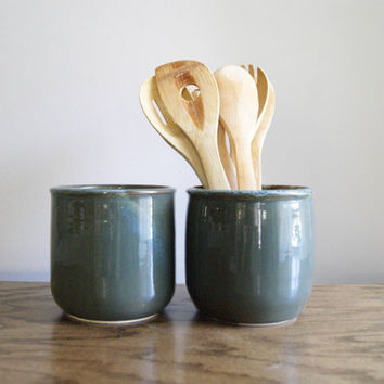 Utensil Holder - Dark green and blue - pottery utensil crock - pottery canister - kitchen storage - utensil keeper caddy - stoneware jar