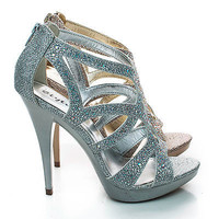 Abyss By Styluxe, Rhinestone Sparkling Cut Out Strappy Stiletto High Heel Sandals