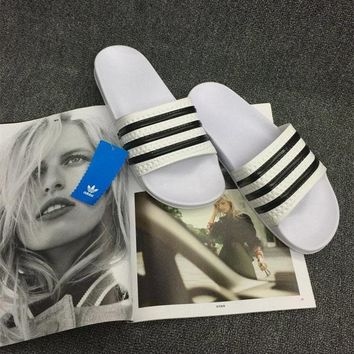 adidas summer fashion casual classic multicolor stripe slippers beach home sandals shoes