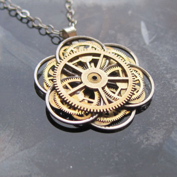 "Mechanical Flower Necklace ""Lotus"" Elegant Recycled Watch Parts Gear Pendant Asian Clockwork Plant Assemblage Balance Wheel Petals OOAK"