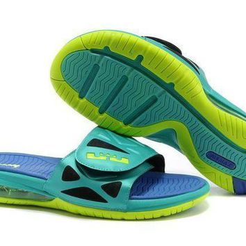 PEAPGE2 Beauty Ticks Nike Air Lebron Slide 78251460 Blue/green Casual Sandals Slipper Shoes Size Us 7-11