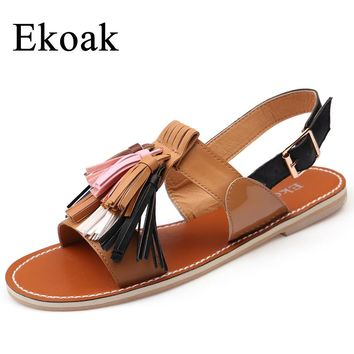 Ekoak Summer Shoes Woman 2018 Fashion Women Sandals Rome Sexy Fringe Ankle Strap Women Flats Sandals Casual Leather Beach Shoes