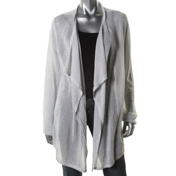 Reduced Drape Front White Dressy Jacket Accent with Metallic Silver Calvin Klein