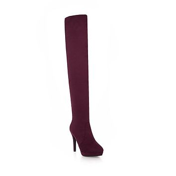 Faux Suede Tall Boots Winter Shoes for Woman 8583