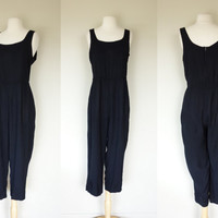 1980's black jumpsuit, sleeveless cotton loose fitting jumpsuit, Large, US size 10, Virgo II
