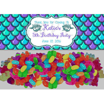 Mermaid Birthday Party Bag Toppers - Mermaid Party Favor Goody Bags - Under The Sea Mermaids Birthday Girl Treats - Favor Ideas - Decor Blue