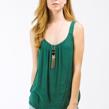 Green Ruched Neck Tank