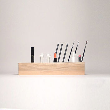 Cosmetic Makeup, Organizer Brush Holder, Organizer Wood Countertop, Gift for woman