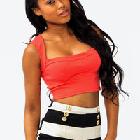 cropped-top BLACK CORAL MINT WHITE - GoJane.com