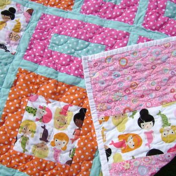 Modern Baby Girl Quilt with Mermaids in Orange Pink Turquoise and White - Handmade Contemporary Nursery Baby Blanket