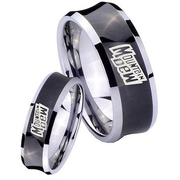 His Her Black Concave Mountain Dew Two Tone Tungsten Wedding Rings Set