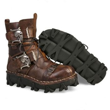 Genuine Leather Military Gothic Punk Steampunk Skull Martin Platform Mid-calf Boots - Brown or Black