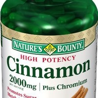Nature's Bounty Cinnamon 2000 Plus Chromium High Potency 400 mcg, 60 Capsules