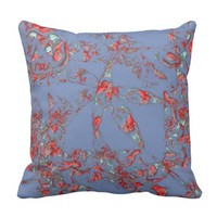 Stylish Red On Blue Abstraction Throw Pillow