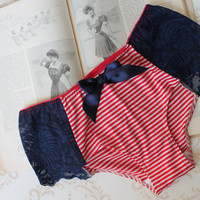 Nautical  'Hello Sailor' Hipster Pin-Up Panties Handmade Lingerie Made to Order