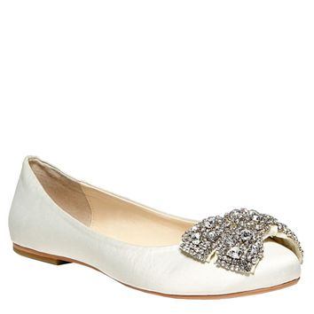 Blue by Betsey Johnson Encrusted Bow Ballet Flat - David's Bridal