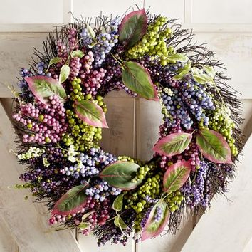 "Faux Spring Berry 20"" Wreath"