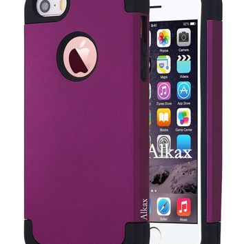 iPhone SE Case , iPhone 5S Case , iPhone 5 Case ,Alkax Dual Layer Armor Heavy Duty Rugged Slim Fit Series Soft-Interior+Hard Protective Cover Bumper for Apple iPhone SE + 1 Stylus Pen (Dark purple)
