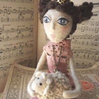 The Queen and the lamb. Art doll queen with golden crown,felted white sheep and heart pendant, cotton rose dress.