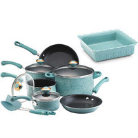 Paula Deen 12-piece Aqua Porcelain Enamel Cookware Set and Bonus Baking Dish: Kitchen & Dining