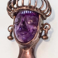 Haute Couture Mask Brooch, Aztec, Los Ballesteros, Carved Amethyst, Mexico, SALE