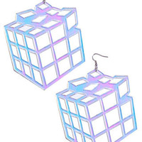 Holographic Exploding Cube Earrings