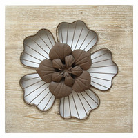SHD0168 Stratton Home Decor Rustic Flower Wall Decor