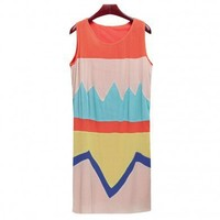 Rainbow collision color plait beach dress