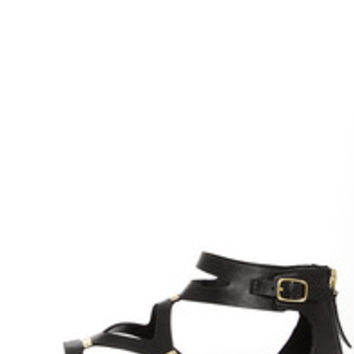 Ruby 31 Black and Gold Gladiator Sandals