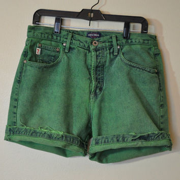 VINTAGE Denim Jean SHORTS - Hand Dyed Green Urban Style Denim Vintage Button Fly Guess Shorts - Size 31 - and Oh so Soft