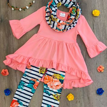 CORAL FLORAL HI-LOW TUNIC SCARF SET