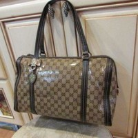 DCCKUG3 GUCCI women's designer CRYSTAL brown monogram tote leather bag
