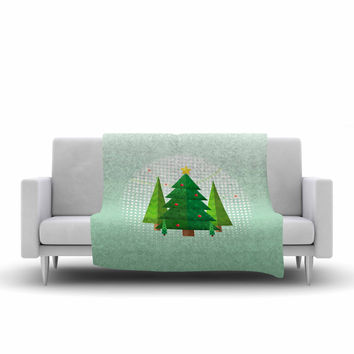 "Noonday Design ""Geometric Christmas Tree"" Green White Fleece Throw Blanket"