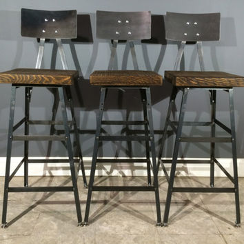 Set Of 3 Rustic Bar Stools W Steel Backs
