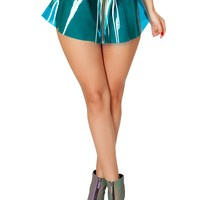 J-Valentine Vinyl Skirt with Holo Denim Trim