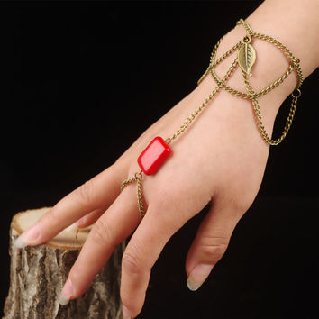 New Arrival Awesome Shiny Great Deal Gift Stylish Hot Sale Accessory Bohemia Leaf Tassels Red Bracelet [4918894852]