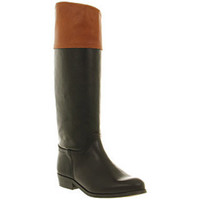 Office GRAND NATIONAL BLACK TAN LEATHER Shoes - Womens Knee Boots Shoes - Office Shoes