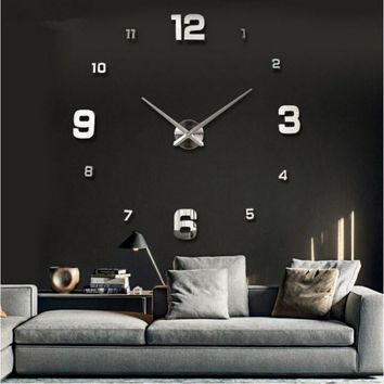 2016 free shipping new wall clock watch clocks reloj de pared home decoration 3d acrylic special sticker Living Room Needle