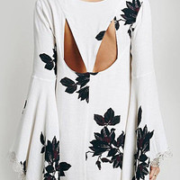 Leaf Print Bell Sleeve Dress with Lace Detail