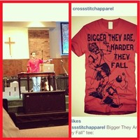 """My dude @disciplekyle rockin the """"Bigger They Are, Harder They ... - crossstitchapparel @ Instagram Web Interface - 5th village"""