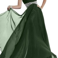 Gorgeous Bridal Stylish Rhinestone Empire Chiffon Evening Prom Gowns 2015- US Size 16 Dark Green